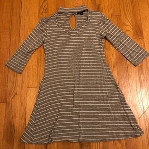 Gray and white keyhole dress